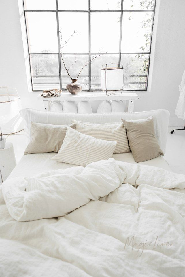 Linen Duvet Cover In Optical White Off White Stone Washed Boho Scandi Bedroom Idea With Window White Linen Bedding Bed Linens Luxury Bed Linen Design