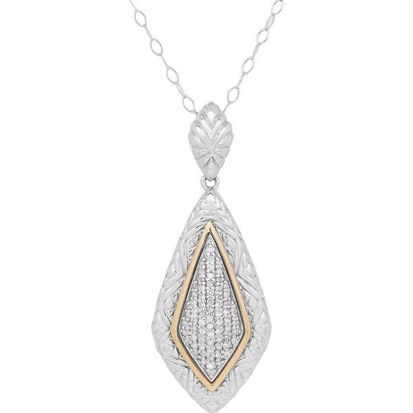 Lord & Taylor Men's Diamond, Sterling Silver and 14K Yellow Gold... ($1,000) ❤ liked on Polyvore featuring men's fashion, men's jewelry, men's necklaces, silver, mens diamond necklace, mens necklace pendants, mens pendant necklace, mens pendants and mens watches jewelry