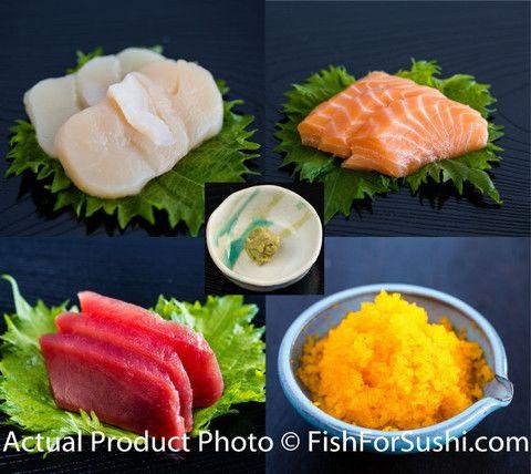 Sushi Party Set 手巻きパーティーセット(Salmon, Tuna, Masago, Scallops, and Wasabi) | Fish for Sushi