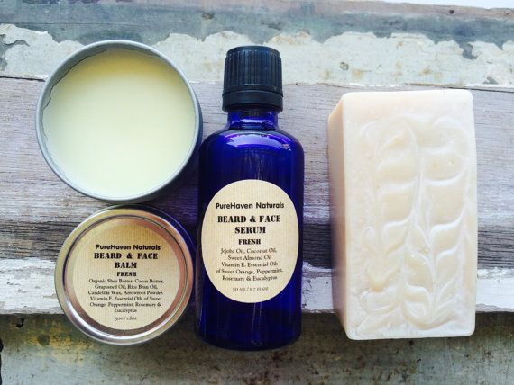 Men's Soap Beard & Face Balm Serum Gift Pack. by PureHavenNaturals