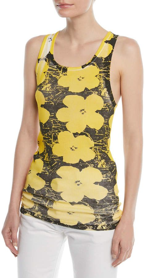 6d30b0e9d5 Andy Warhol Scoop-Neck Floral-Print Cotton Tank  Warhol Andy artwork ...