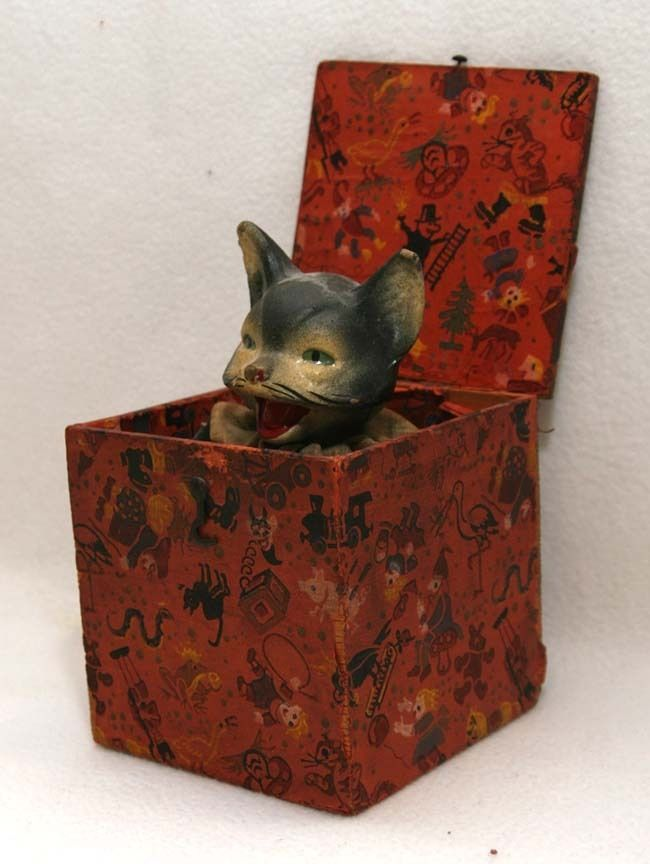 RARE Antique German  Halloween Cat Jack In The Box Toy Circa 1910 #Unbranded