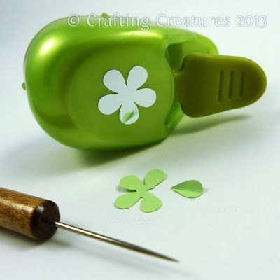 How to make leaves using a five petal flower punch.