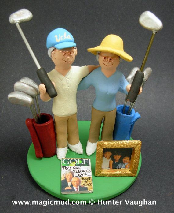 Golf Destination Wedding Cake Topper, Golfer's Wedding Cake Topper, Golfing Wedding Cake Topper, Golfing Bride Wedding Cake Topper,    This photographed listing is but an example of what we will create for you....simply email or call toll free with your own info and pictures of yourselves, and we will sculpt for you a treasured memory from your wedding!    $235 #magicmud 1 800 231 9814 www.magicmud.com