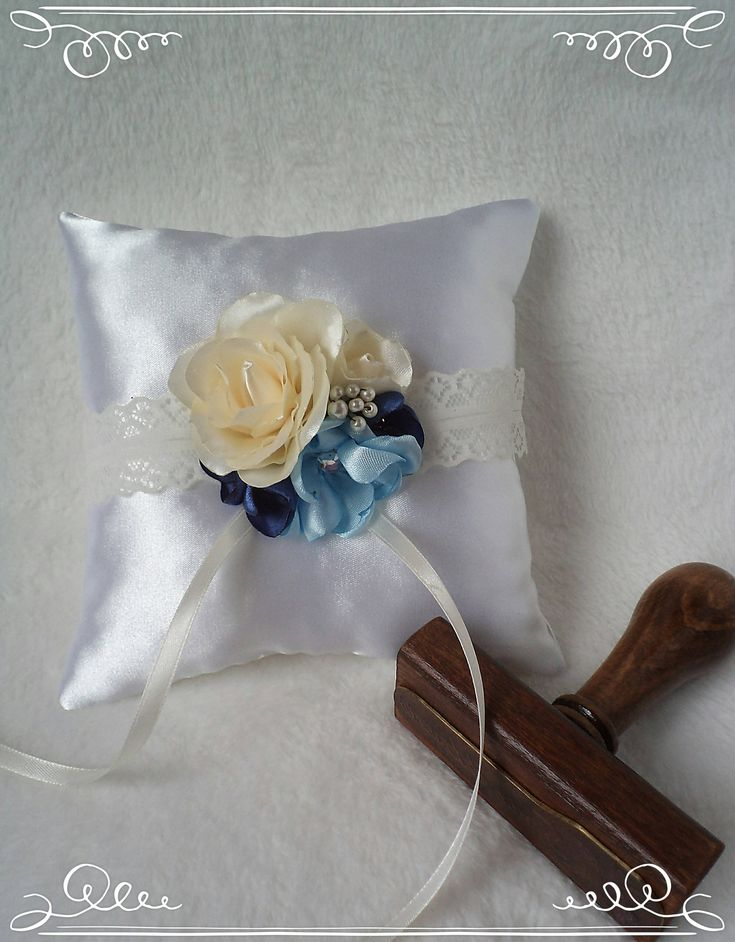 Clarissa handmade blue-colored wedding bridal bearer ring pillow with rose and fantasy flowers by FonixDecoration on Etsy