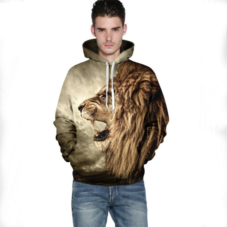 Autumn Winter Men's Tops Coat Animal 3D Printed Lion Male And Female Couple Hooded Hoodies Casual O-Neck Pullover Sweatshirts