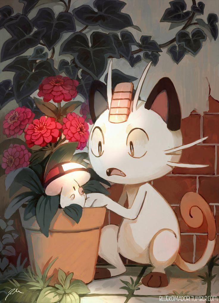 Meowth and Foongus by bluekomadori