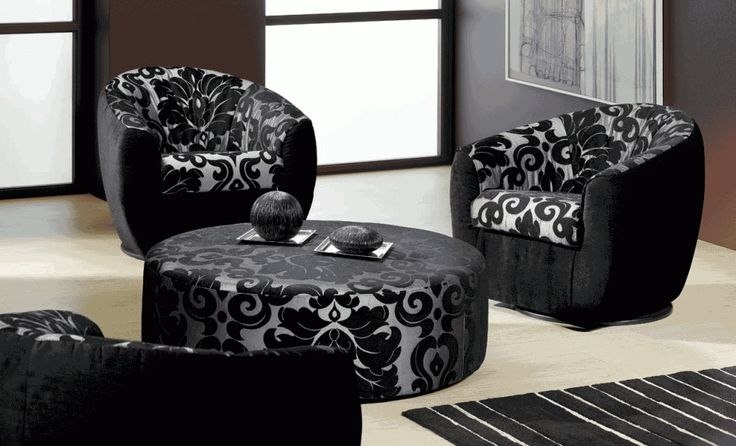 Furniture 4 Modern Black And White Fabric Sofa Single Seater Set With Round Coffee Table The attractive sofa for sale for the living room