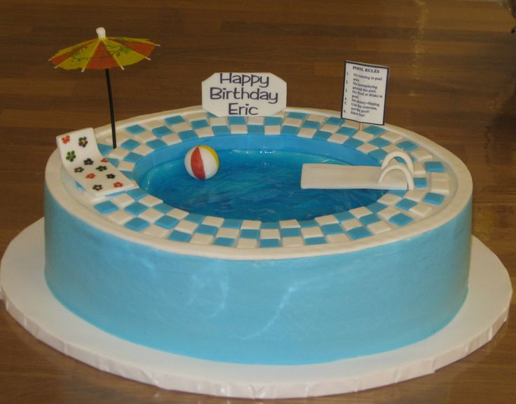 Swimming pool cake for Eric turning 14 - by CakeCentral