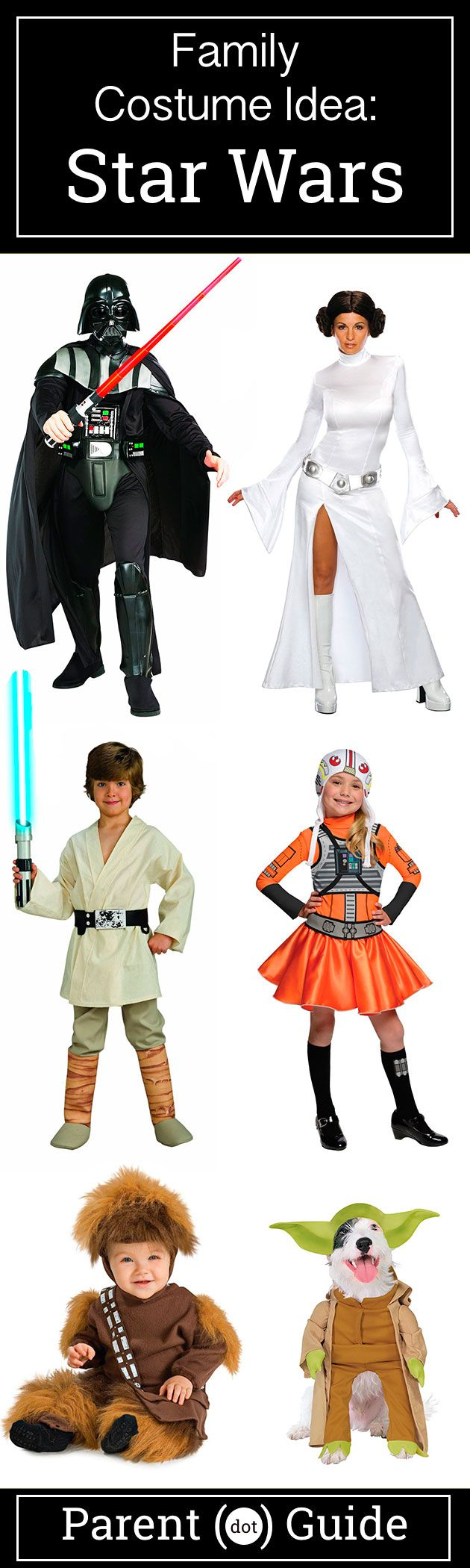 Long ago in a galaxy far away.... There were awesome costumes for your entire family. With a huge selection of Star Wars costumes your family can go as any combination of characters from this epic series including Luke Skywalker, Princess Leia, Chewbacca and Yoda.