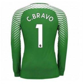 Manchester City Brankářské Claudio Bravo 1 Domácí Dres 17-18 Dlouhý Rukáv