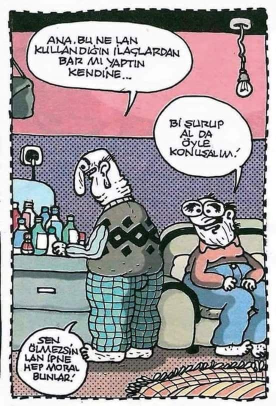 - Ana, bu ne lan kullandığın ilaçlardan bar mı yaptın kendine... + Bi şurup al da öyle konuşalım! - Sen ölmezsin lan ipne hep moral bunlar! #karikatür #mizah #matrak #komik #espri #şaka #gırgır #komiksözler