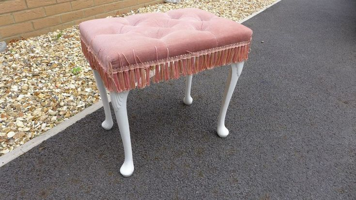 Sherborne Vintage Dressing Table Stool - Pink with white legs - Good Order #Sherborne #VintageRetro