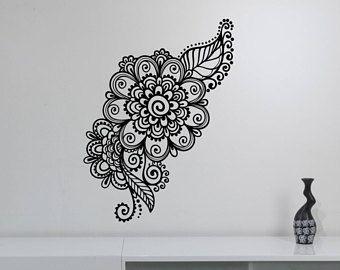 Mehndi pared pegatina alheña Paisley flores vinilo etiqueta patrón ornamento arte decoraciones florales para casa habitación dormitorio indio Decor mh2