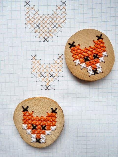 Really cute diy cross-stitch brooches!   Read more  for full instructions!
