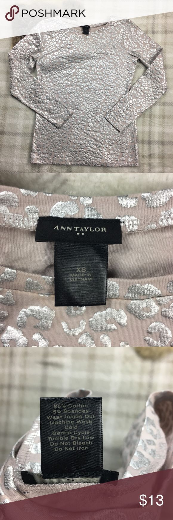 """Ann Taylor Metallic Animal Print Tee Light pink tee with metallic cheetah print pattern. Beautiful long sleeved T-shirt, never been worn. Would look beautiful with jeans and a blazer.   17.5"""" pit to pit Ann Taylor Tops Tees - Long Sleeve"""