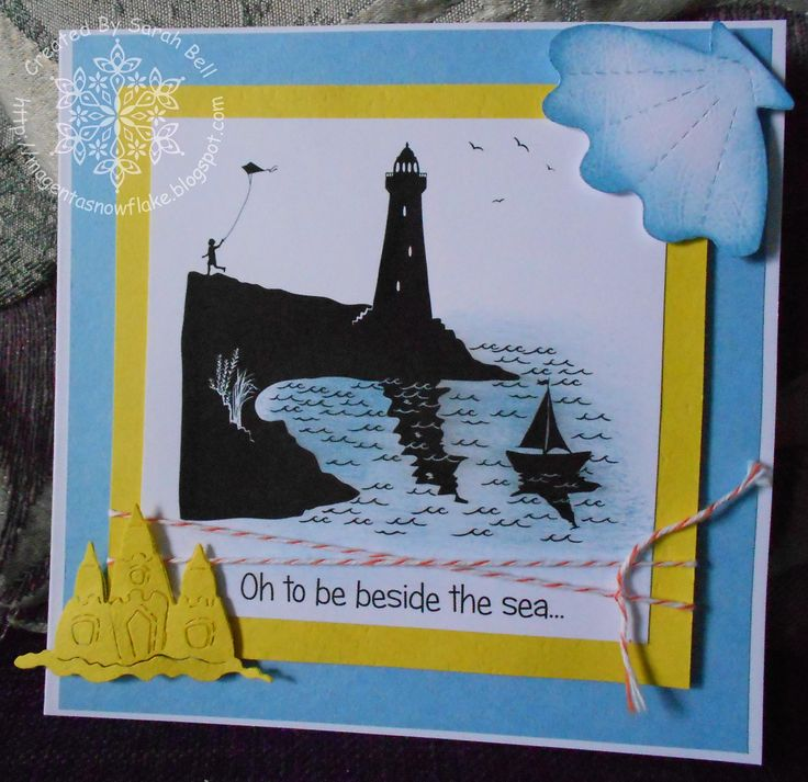 Silhouette Lighthouse Digi-Stamp, card designed by Sarah Bell - http://www.littleclaire.co.uk/product/digi-silhouette-lighthouse.html