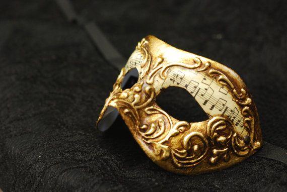 Maschera per bambini di Venezia Oro e carta Musica B02
