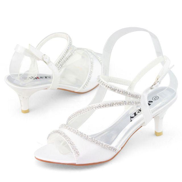 Shoezy estrenar gatito blanco alto pequeños delgada bajo el talón zapatos de boda mujer zapatos de vestir de novia satén de seda del partido del rhinestone sandalias