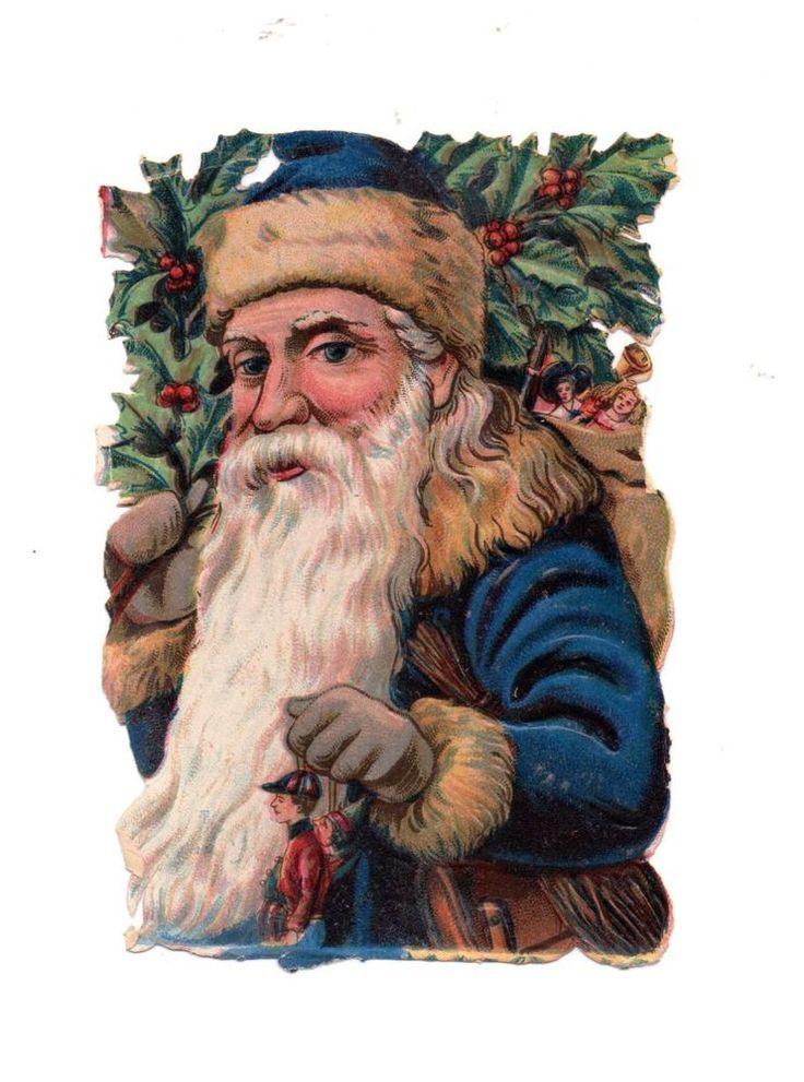 schöne , alte  Oblate - scrap die cut chromo ,Weihnachtsmann ( 41 )