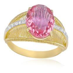 Anel Aramado com Cristal de Turmalina Rosa e 4 Diamantes em Ouro Amarelo