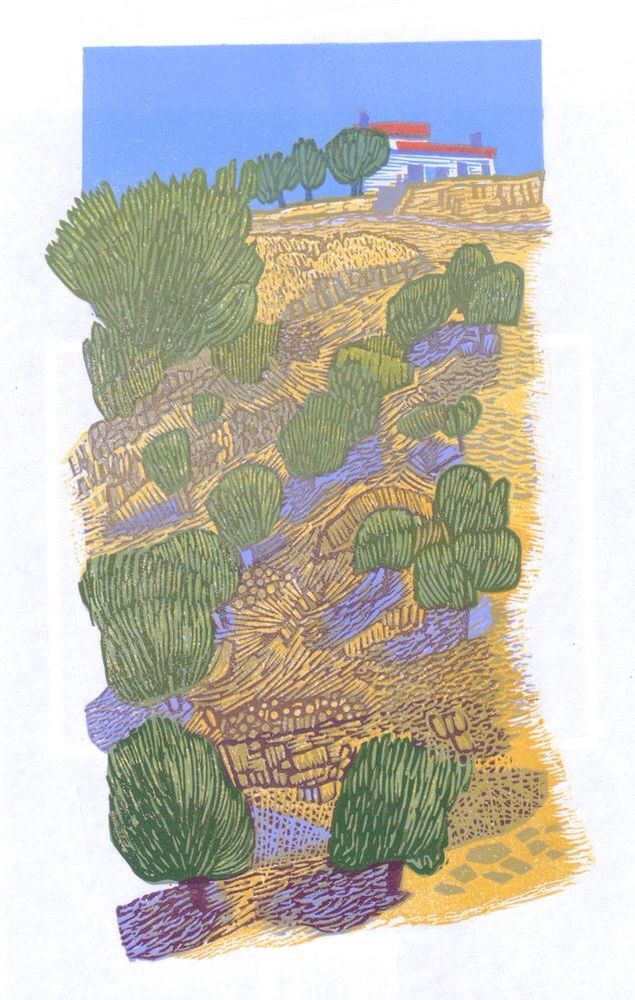 Olive Grove. Reduction Linocut. © Eric Gaskell 2016