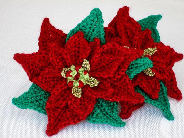 Poinsettia Applique Crochet Pattern By Marilyn Smith