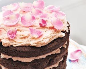 Chocolate and rose layer cake