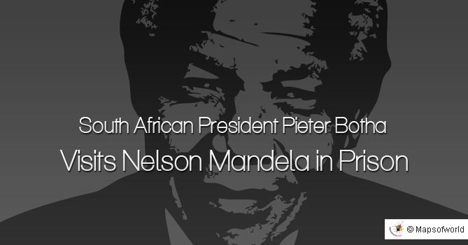 - On This Day -  South African President Pieter Botha Visits Nelson Mandela in Prison  July 5, 1989  #history #politics #Africa #NelsonMandela #PieterBotha