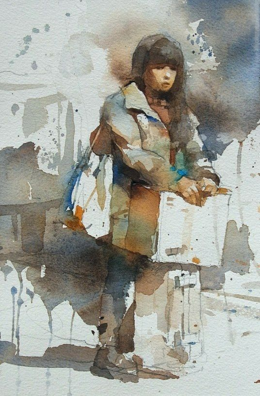 【The girl waiting for the train】Watercolour....By Chien Chung Wei,18*27CM