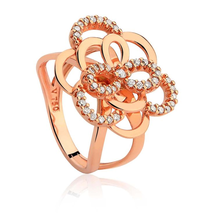 Anel Ouro Rosé e Diamantes Begônia Rendas