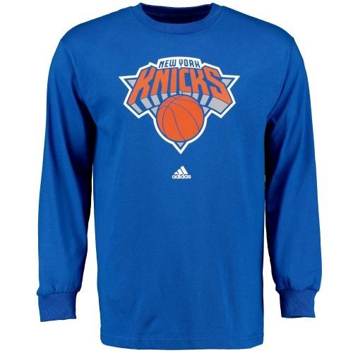 New York Knicks Royal Blue adidas Prime Logo Long Sleeve T-Shirt