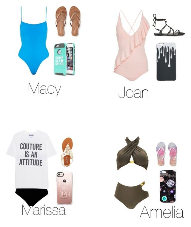 """""""Squad beach day"""" by madisonbj17 ❤ liked on Polyvore featuring .mcma., Marysia Swim, Norma Kamali, Moschino, Aéropostale, Rebecca Minkoff, Olivia Miller, Casetify, Nikki Strange and Solid & Striped"""