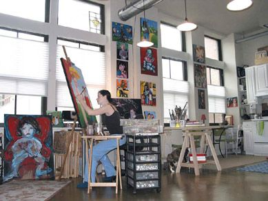 dana-ellyn-kaufman-studio.. This is inspiring. A studio like this I'd do almost anything to have. That flood of natural light and high ceilings...such vast energy there. I like to paint big.. this would be a dream come true