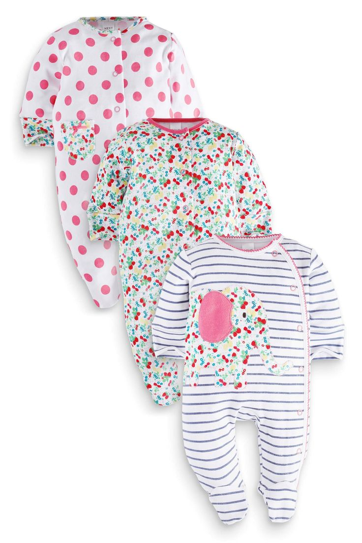 Buy Three Pack Floral Elephant Sleepsuits (5LB-2yrs) from the Next UK online shop