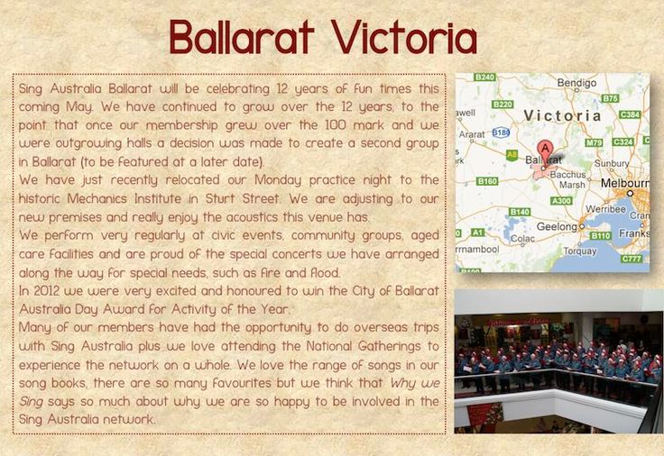 Ballarat (VIC) Feature | Sing Australia