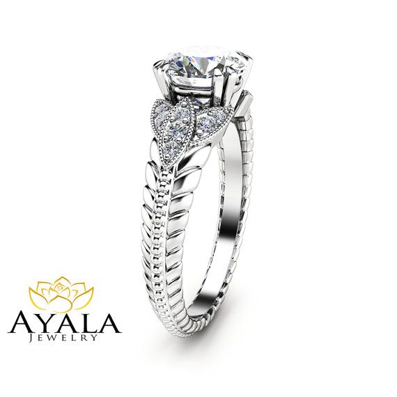Anello di fidanzamento in stile rotondo Moissanite anello di fidanzamento unico 14k oro bianco anello Art Déco