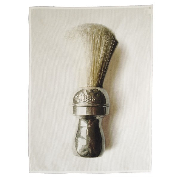 Hand cloth - Shaving brush - Part of the L'homme du Bain collection which features French antique items, this is a hand cloth with an image of a shaving brush.    Collection: L'homme du Bain  Made in France  100% Cotton  35 × 50 cm