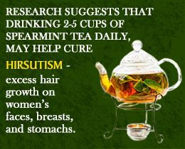Spearmint tea benefit for hirsutism OMG!! Trying this...I have PCOS so if this works I'll be thrilled!