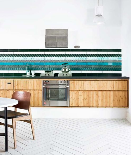 (what an amazing backsplash!)   35 Cool And Creative Kitchen Backsplashes   Shelterness