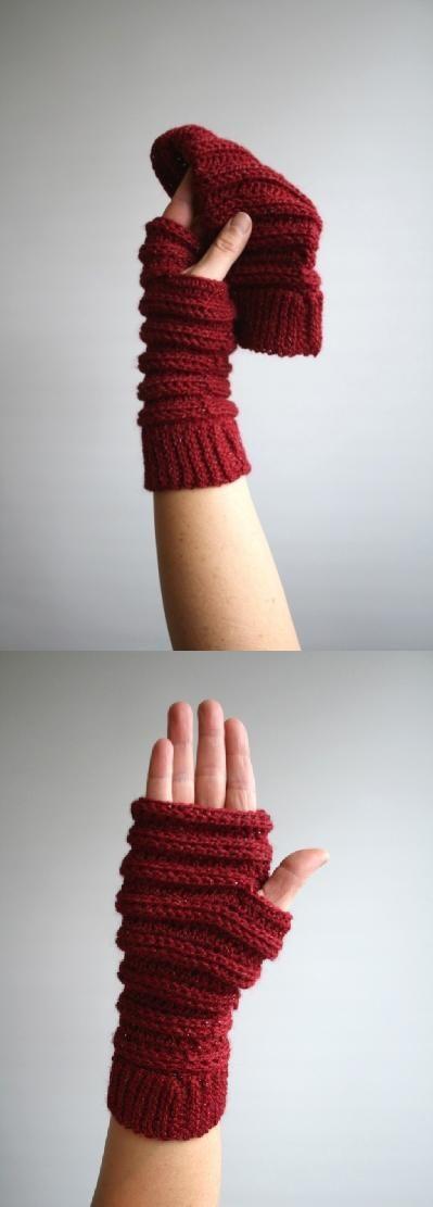 Winter fingerless gloves crochet pattern
