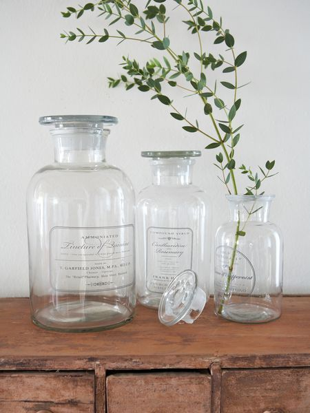 Apothecary jars are very useful in the bathroom (and elsewhere)