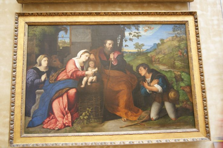 #Art - The Adoration of the Shepherds with a Female Donor by Jacopo Palma il Vecchio at the Louvre, #Paris, #France
