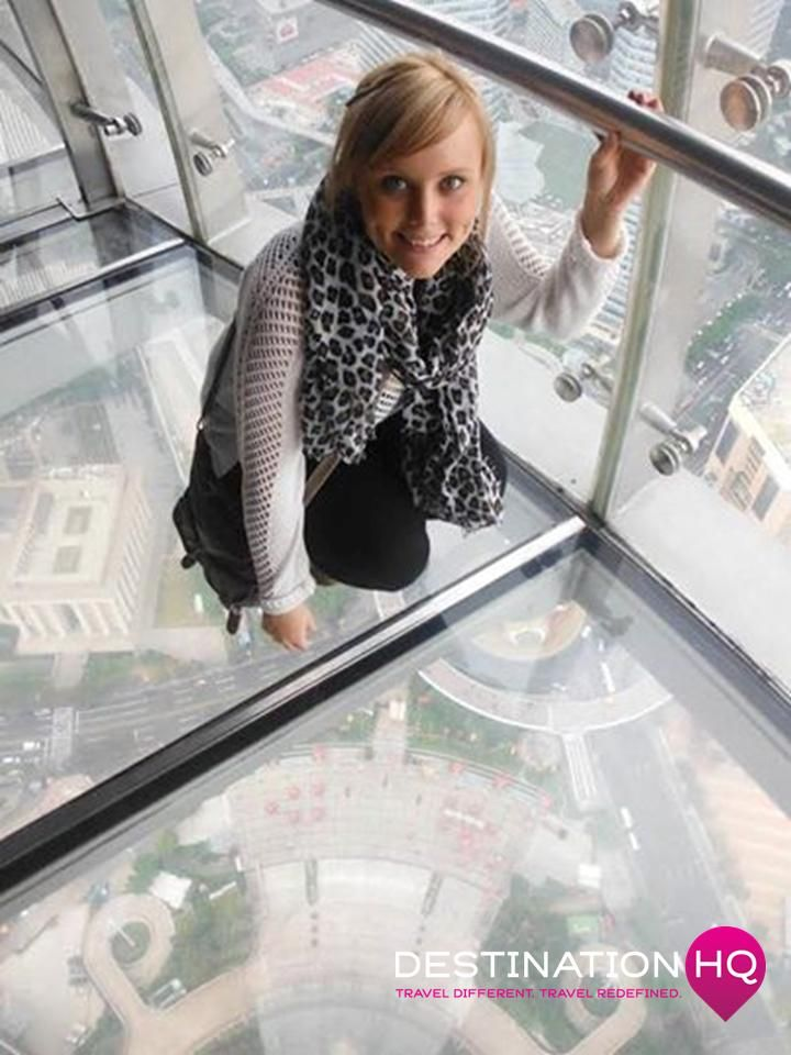 Sophie at the Oriental Pearl Tower in Shanghai