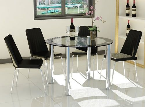 Maponi Large Round Black And Clear Glass Table With Chrome Legs Kitchen  Dining Set With 4