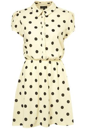 Cream/White collared, cap sleeve dress with black polka dots