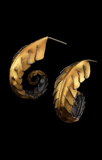 Judith Kinghorn: Earrings in sterling silver and 24k gold. 1 1/2 x 1""