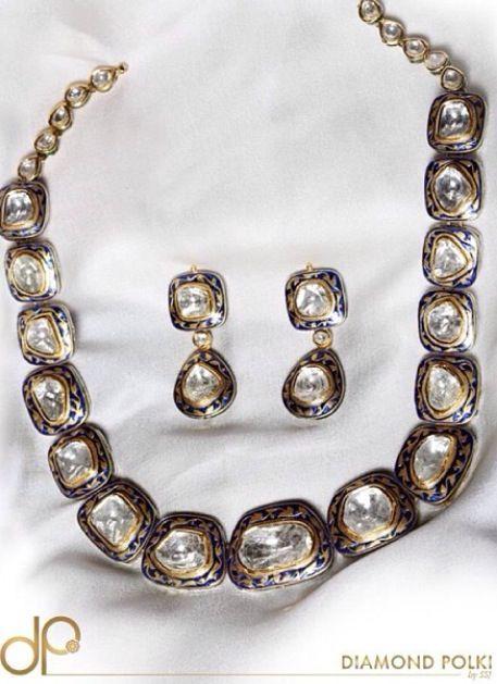 Single string polki necklace set #uncut #diamonds with enamel work #meenakari by Diamond polki by SSJ