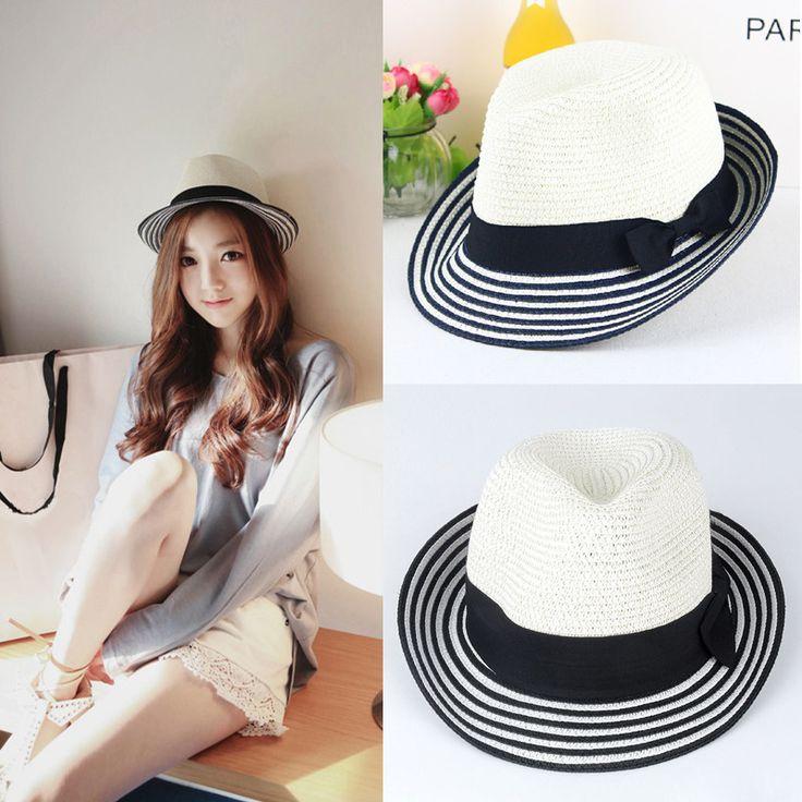 Новое женщины соломенной шляпе 2015 мода летние шляпы полосатый бантом стиль панама фетровой шапки пляж вс шляпы для женщинкупить в магазине Five Star Outlet наAliExpress