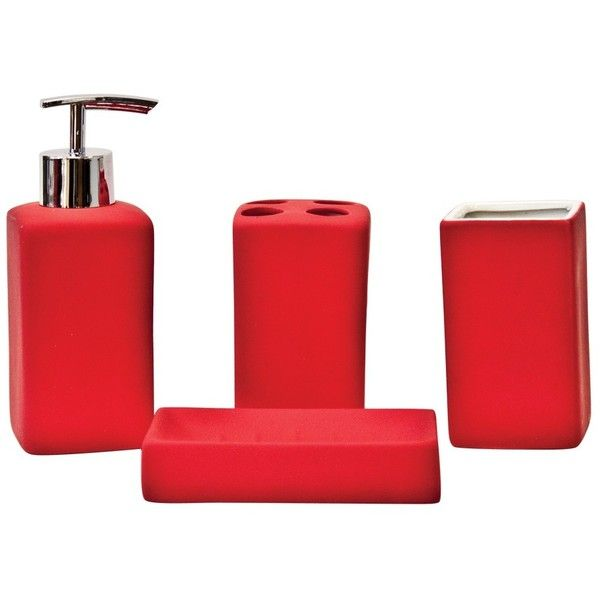sq matte red cube ceramic bathroom accessory set 4pc 27 cad liked